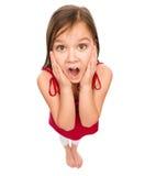 La bambina sta tenendo il suo fronte nella stupefazione Fotografia Stock Libera da Diritti