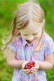 La bambina sveglia che tiene le fragole di bosco fresche ha selezionato all'azienda agricola organica Fotografia Stock