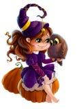 La bambina sveglia in costume della strega di Halloween con il fumetto di clipart del gufo e della zucca disegna il fondo traspar Immagini Stock