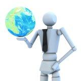 La bambola di legno con l'illustrazione globale 3d Fotografie Stock Libere da Diritti