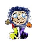 La bambola di panno divertente isolata Fotografia Stock