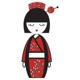 La bambola giapponese orientale della geisha con il kimono con i fiori ed il bastone orientali con l'elemento rotondo ha ispirato Fotografie Stock Libere da Diritti