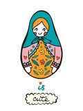 La bambola russa è sveglia Carta variopinta con la bambola russa sveglia Immagini Stock