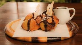 La banana ha fritto completato con cioccolato Immagine Stock Libera da Diritti