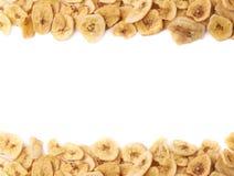 La banane sèche découpe la composition en tranches Photos libres de droits