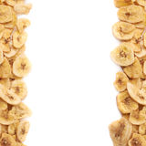 La banane sèche découpe la composition en tranches Images libres de droits