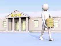 La Banca & uomo & soldi 1 Immagini Stock Libere da Diritti