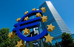 La Banca Centrale Europea a Francoforte Immagini Stock Libere da Diritti