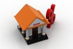 La Banca con il segno di percentuale Fotografia Stock