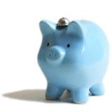 La Banca del maiale del blu di bambino Fotografie Stock Libere da Diritti