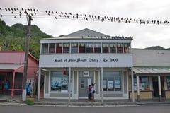 La Banca del Nuovo Galles del Sud che costruisce a Levuka, isola di Ovalau, Figi Immagine Stock