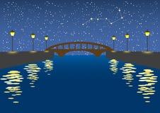 La Banca di fiume di notte Fotografie Stock