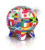 La Banca Piggy - accumulazione delle bandierine Fotografia Stock