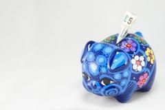 La Banca Piggy blu Immagine Stock Libera da Diritti