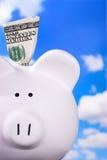 La Banca Piggy con $100 Immagine Stock