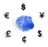 La Banca Piggy con l'involucro Fotografie Stock Libere da Diritti