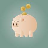 La Banca Piggy con le monete Immagine Stock Libera da Diritti