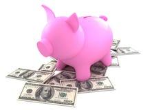 La Banca Piggy con soldi Fotografia Stock Libera da Diritti