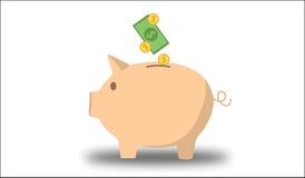 La Banca Piggy con soldi illustrazione vettoriale