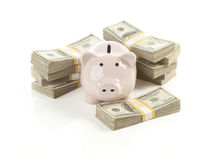 La Banca Piggy dentellare con le pile di soldi Immagine Stock