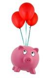 La Banca Piggy di galleggiamento Fotografia Stock Libera da Diritti