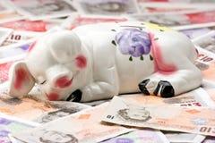 La Banca Piggy di sonno su una base di soldi fotografia stock libera da diritti