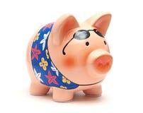 La Banca Piggy di vacanza Fotografia Stock Libera da Diritti