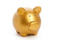 La Banca Piggy dorata Immagini Stock Libere da Diritti
