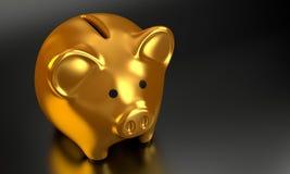 La Banca Piggy dorata 3D rende 006 Fotografia Stock Libera da Diritti