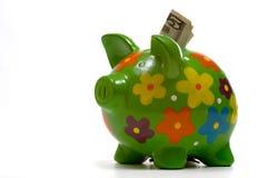 La Banca Piggy fiorita verde Fotografie Stock Libere da Diritti