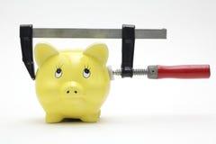 La banca Piggy ha compresso in un morsetto Fotografie Stock