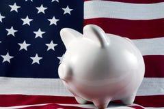 La Banca Piggy patriottica 4149 Fotografie Stock Libere da Diritti