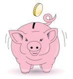 La banca Piggy raccoglie le monete Fotografia Stock
