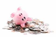 La Banca Piggy Rolls nel cambiamento Fotografie Stock Libere da Diritti