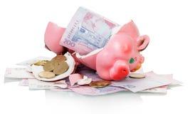 La Banca Piggy rotta Immagine Stock