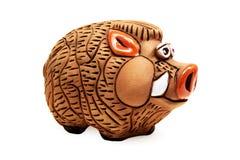 La Banca Piggy selvaggia (isolata su bianco) Immagine Stock Libera da Diritti