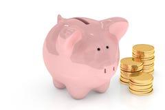 La Banca Piggy sopra bianco Fotografie Stock