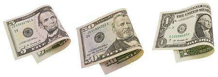 La banconota americana del denaro contante ha piegato la fattura isolata collage Fotografia Stock Libera da Diritti