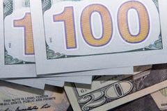 La banconota americana del dollaro 100 Immagini Stock Libere da Diritti
