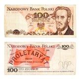 La banconota 1986 di 100 Zlotych dalla Polonia ha isolato su bianco Fotografia Stock Libera da Diritti