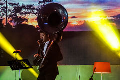 La banda de Jazz Minions se realiza en jazz en memoria en Bangsaen Fotografía de archivo libre de regalías