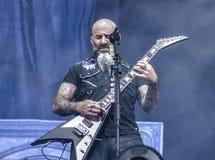 La banda de metales pesados del ántrax vive en el concierto 2016 Imágenes de archivo libres de regalías