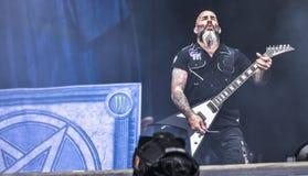 La banda de metales pesados del ántrax vive en el concierto 2016 Fotografía de archivo