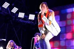 La banda de rock del indie de Arcade Fire se realiza en el sonido 2014 de Heineken Primavera Fotos de archivo libres de regalías