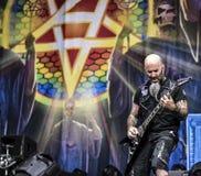 La banda di metalli pesanti dell'antrace vive di concerto 2016 Fotografia Stock Libera da Diritti