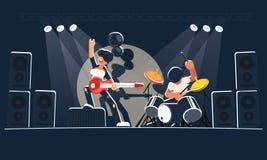 La banda di musica moderna mostra un concerto su una fase scura nei raggi luminosi Un chitarrista grazioso della ragazza con una  royalty illustrazione gratis