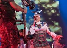 La banda di Verka Serduchka esegue al festival di fine settimana dell'atlante Kiev, Ucraina Immagine Stock Libera da Diritti