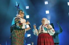 La banda di Verka Serduchka esegue al festival di fine settimana dell'atlante Kiev, Ucraina Immagine Stock