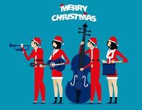 La banda El equipo de Papá Noel se relaja Ejemplo del vector del día de fiesta del concepto Foto de archivo libre de regalías