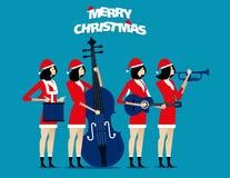 La banda El equipo de Papá Noel se relaja Ejemplo del vector del día de fiesta del concepto Fotos de archivo